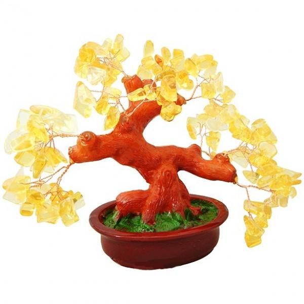 Бонсай 20 см Цитрин (деревце счастья из натуральных камней) - 1