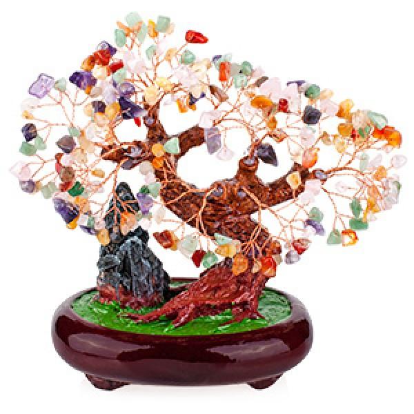 Бонсай 27 см Микс камней (дерево счастья из натуральных камней) - 1