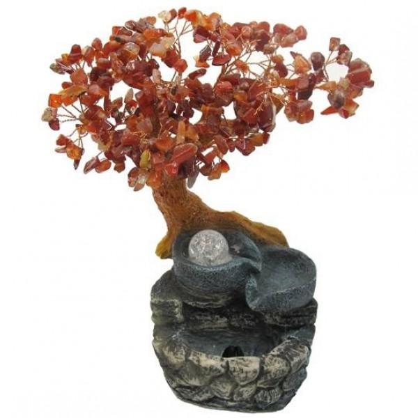 Бонсай-фонтан Сердолик 28 см (дерево счастья из натуральных камней и декоративный настольный фонтан с подсветкой) - 1