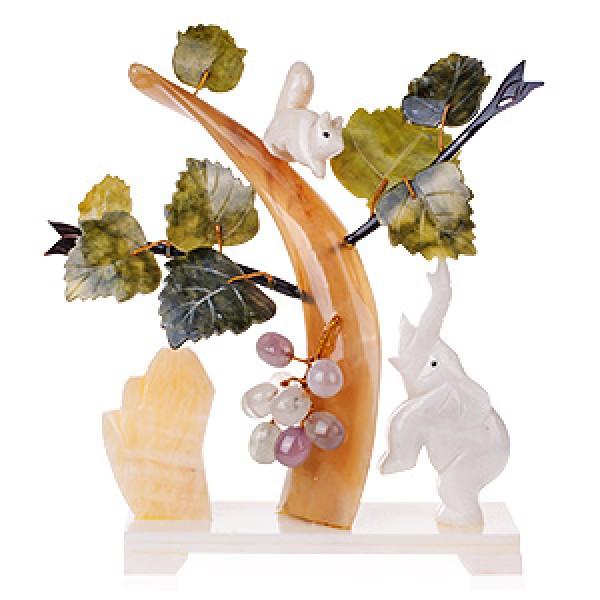 """Бонсай 25 см """"Виноград"""" (дерево счастья) с белкой и слоном - 1"""
