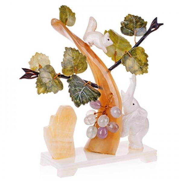 """Бонсай 25 см """"Виноград"""" (дерево счастья) с белкой и слоном - 2"""