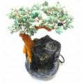 Бонсай-фонтан Нефрит 30 см (дерево счастья из натуральных камней и декоративный настольный фонтан с подсветкой)