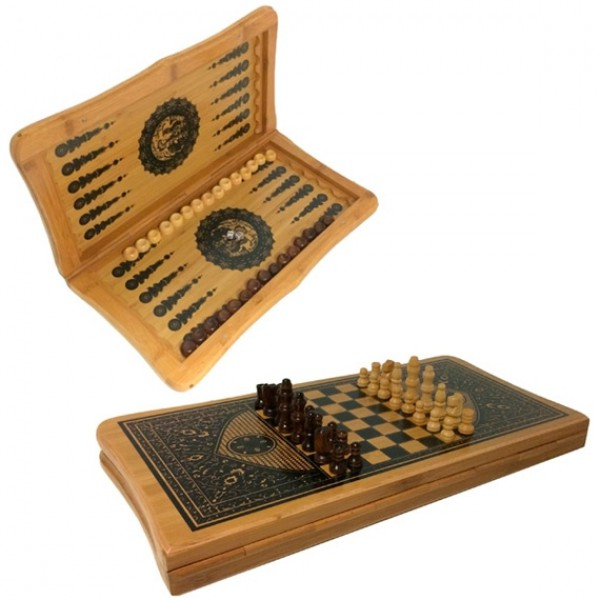 "Набор 3 в 1 ""Старый замок"" (настольные игры: нарды, шахматы, шашки) - 1"