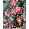 """""""Котёнок и розы"""" 40*50 см картина-раскраска по номерам на холсте"""