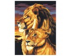 "30*40 см ""Пара львов"" картина-раскраска по номерам на холсте"