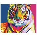 """30*40 см """"Радужный тигр"""" картина-раскраска по номерам на холсте"""