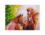 "40*50 см ""Рыжие кони"" картина-раскраска по номерам на холсте"