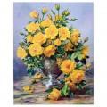 """40*50 см """"Жёлтые розы"""" картина-раскраска по номерам на холсте"""