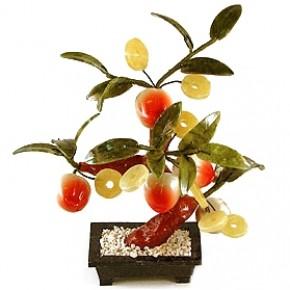 """Бонсай """"Персик с монетками"""" 25 см - дерево счастья"""