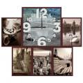 """Часы с фото """"Город вокруг"""" (настенные часы-коллаж с фоторамками)"""