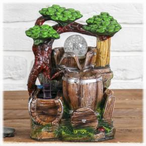 """Настольный декоративный фонтан """"Бочки под деревом"""" с подсветкой"""