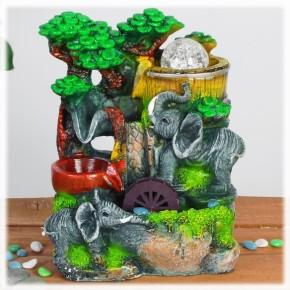 """Настольный декоративный фонтан """"Два слона"""" с подсветкой"""