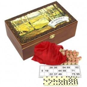 """Набор """"На природе"""" лото + домино в подарочной шкатулке"""