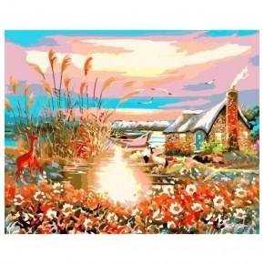 "Картина-раскраска по номерам ""Дом у озера"" 40*50 см на холсте"