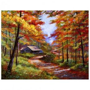 """Картина-раскраска по номерам """"Дом в осеннем лесу"""" 40*50 см на холсте"""