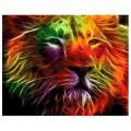 """40*50 см """"Неоновый лев"""" картина-раскраска по номерам на холсте"""