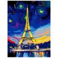 """30*40 см """"Ночь в Париже"""" картина-раскраска по номерам на холсте"""