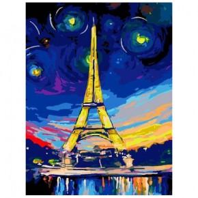 """Картина-раскраска по номерам """"Ночь в Париже"""" 30*40 см на холсте"""