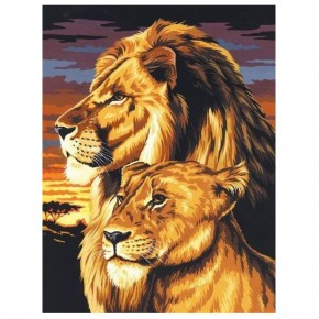 "Картина-раскраска по номерам ""Пара львов"" 30*40 см на холсте"