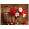 """40*50 см """"Розы и клубника"""" картина-раскраска по номерам на холсте"""
