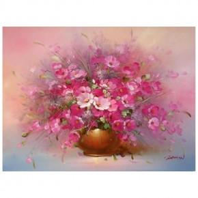 """Картина-раскраска по номерам """"Розовые цветы"""" 40*50 см на холсте"""