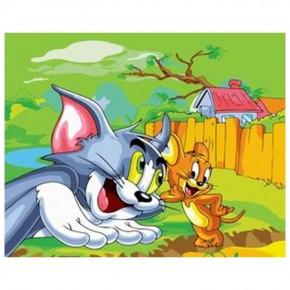 "Картина-раскраска по номерам ""Том и Джерри"" 40*50 см на холсте"