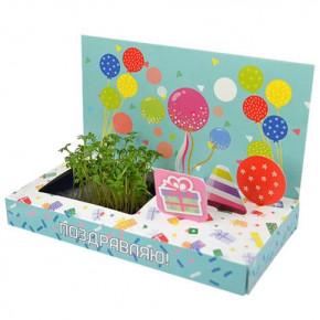 """Растущая открытка """"Поздравляю"""" (набор для выращивания)"""