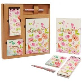 """Подарочный набор """"Акварель"""": ежедневник, блокнот, бумага, ручка"""