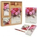"""Набор """"Цветы"""" подарочный (ежедневник, блокнот, бумага для записей, авторучка)"""