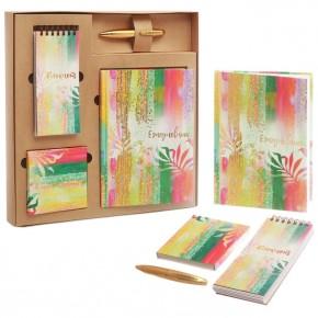 """Подарочный набор """"Краски"""": ежедневник, блокнот, бумага, ручка"""