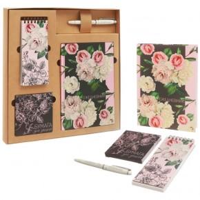 """Подарочный набор """"Розы"""": ежедневник, блокнот, бумага, ручка"""