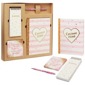 """Подарочный набор """"Счастье"""": ежедневник, блокнот, бумага, ручка"""