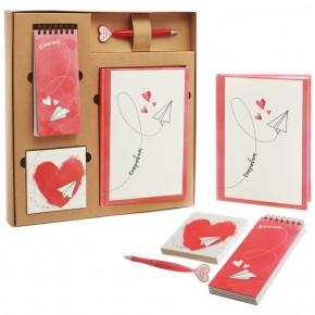"""Подарочный набор """"Сердце"""": ежедневник, блокнот, бумага, ручка"""