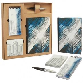 """Подарочный набор """"Сталь"""": ежедневник, блокнот, бумага, ручка"""