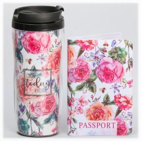 """Подарочный набор """"Запах лета"""": обложка на паспорт + термостакан"""
