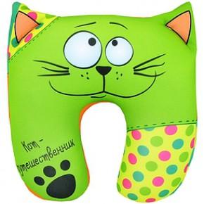 """Подушка антистресс под шею """"Кот путешественник"""" зелёный"""