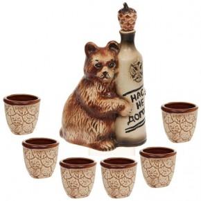 "Штоф ""Медведь"" (0,7л) с 6 рюмками"