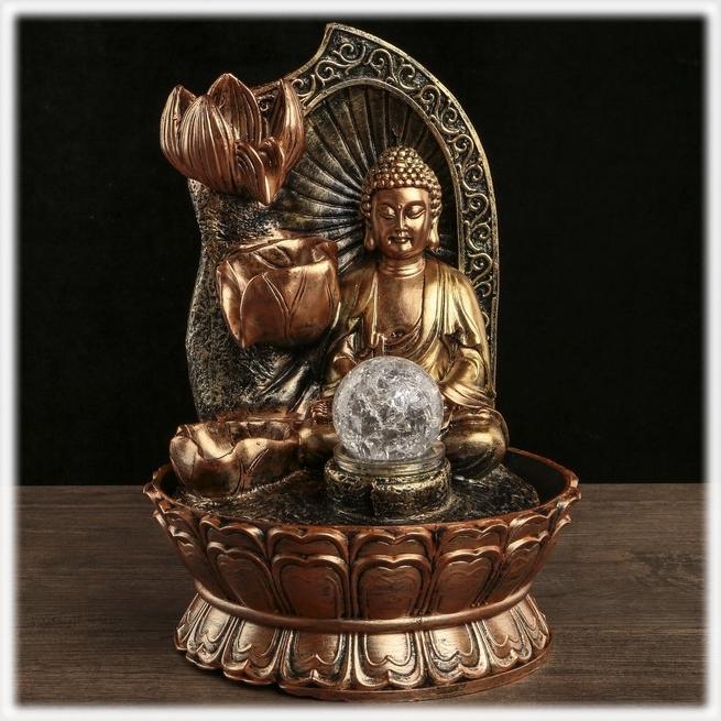 """Фонтан """"Будда с лотосами"""" настольный декоративный с подсветкой от 2 850 руб"""